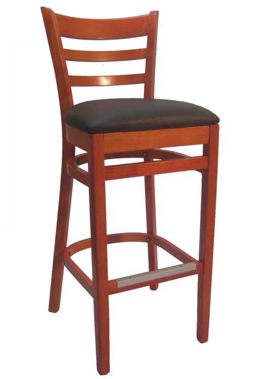 Ladderback Cherry Wood Bar Stool Black Vinyl Seat Sku# WBS-025