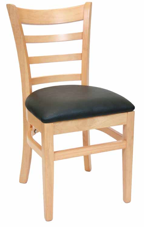 Ladderback Natural Wood Chair w Black Vinyl Seat Sku # WC-031